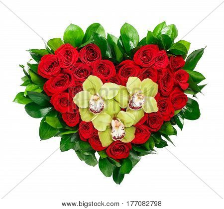 Heart shaped bouquet of red roses and orchids isolated on white background.