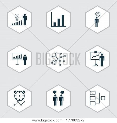 Set Of 9 Administration Icons. Includes Planning, Project Presentation, Team Meeting And Other Symbols. Beautiful Design Elements.