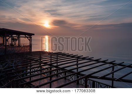 Cloudy sunrise in a winter day, at the town of Nesebar, Bulgaria.