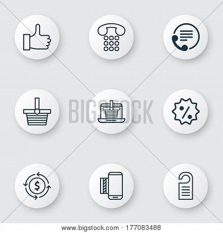 Set Of 9 Ecommerce Icons. Includes Mobile Service, Finance, Callcentre And Other Symbols. Beautiful Design Elements.