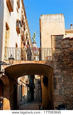 Barcelona, Spain - August 6, 2014:Back street in the Jewish quarter of Barcelona