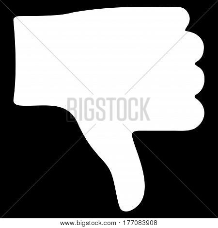 Thumb Down vector icon. Flat white symbol. Pictogram is isolated on a black background. Designed for web and software interfaces.