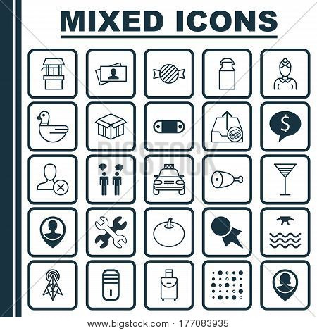 Set Of 25 Universal Editable Icons. Can Be Used For Web, Mobile And App Design. Includes Elements Such As Spanner, Pin Employee, Discount Coupon And More.