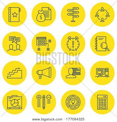 Set Of 16 Project Management Icons. Includes Time Management, Investment, Computer And Other Symbols. Beautiful Design Elements.