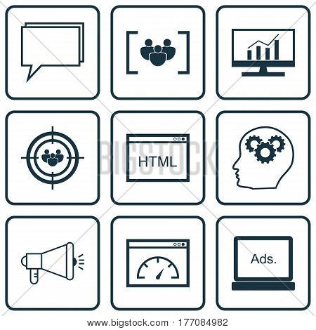 Set Of 9 SEO Icons. Includes Digital Media, Loading Speed, Market Research And Other Symbols. Beautiful Design Elements.