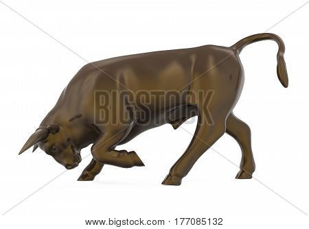 Bull Sculpture isolated on background. 3D render