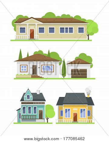 Cute colorful flat style house village symbol real estate cottage and home design residential colorful building construction vector illustration. Graphic exterior adorable neighborhood place.