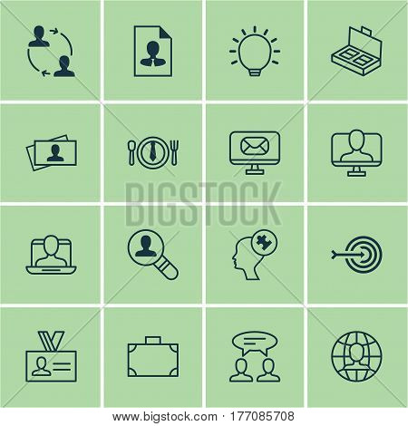 Set Of 16 Business Management Icons. Includes Human Mind, Online Identity, Social Profile And Other Symbols. Beautiful Design Elements.