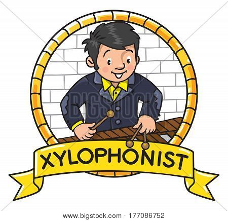 Funny musician or xylophone player. Profession ABC series. Children vector illustration. Alphabet X Emblem