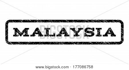 Malaysia watermark stamp. Text tag inside rounded rectangle with grunge design style. Rubber seal stamp with unclean texture. Vector black ink imprint on a white background.