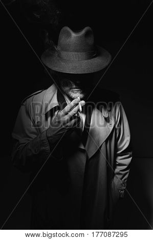 Noir Film Character Smoking A Cigarette