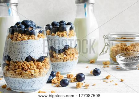 chia pudding or yogurt parfait with blueberries granola and chia seeds on white wooden background with bottle of milk. healthy breakfast