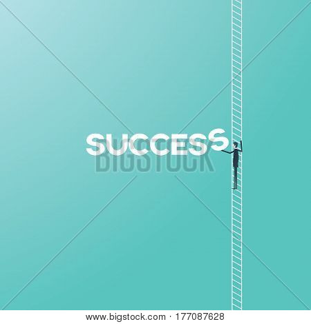 Business success concept with businessman climbing ladder vector cartoon. Corporate or career ladder growth and achievement symbol. Eps10 vector illustration.