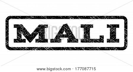 Mali watermark stamp. Text tag inside rounded rectangle with grunge design style. Rubber seal stamp with dirty texture. Vector black ink imprint on a white background.