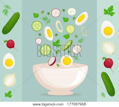 Preparation of fresh salad. Side view. Vector illustration. Ingredients for salad with radishes, cucumber, egg, onion, parsley and dill