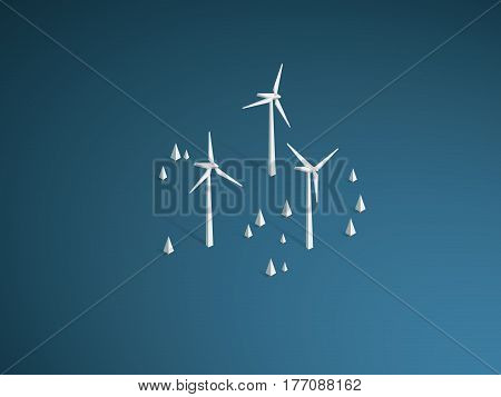 Wind turbine farm in forest background landscape vector. Ecology and sustainable, renewable, alternative power source symbol. Eps10 vector illustration.