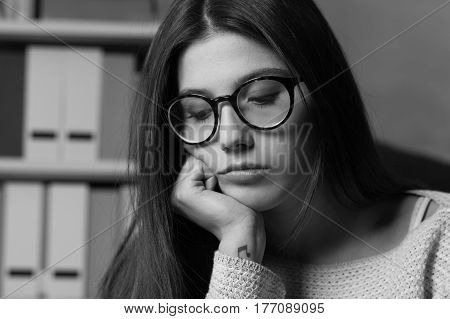 Unhappy Woman Looking Down