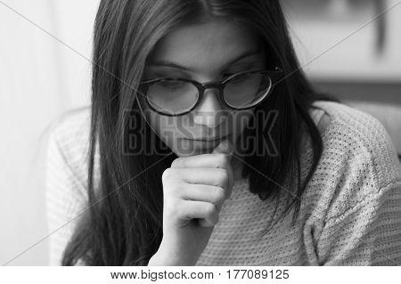 Sad Girl Biting Nails