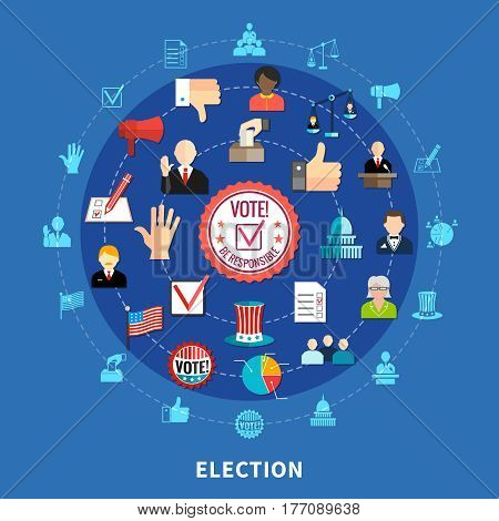 Election campaign circular set with isoleted icons on blue background flat vector illustration