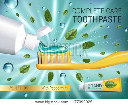 Antibacterial toothpaste ads. Vector 3d Illustration with toothpaste brush and mind leaves. Poster with product.