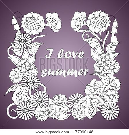 monochrome print with hand drawn floral pattern and text I love summer in boho style for home art decorate stationery posters banners. eps 10.