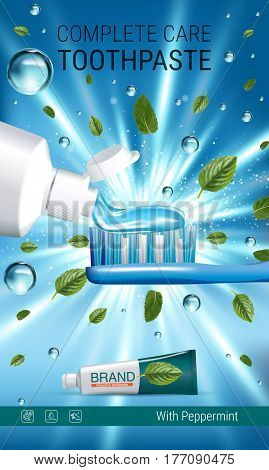 Antibacterial toothpaste ads. Vector 3d Illustration with toothpaste brush and mind leaves. Vertical banner with product.