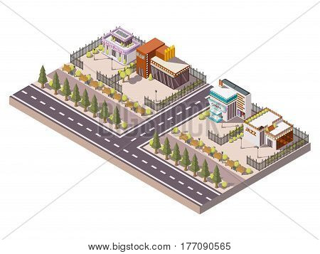 Entertainment places isometric composition with night club and cinema  vector illustration