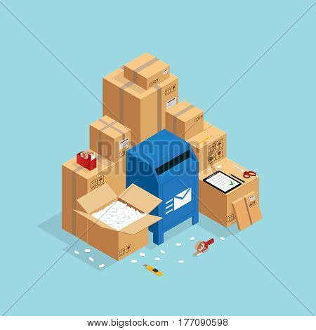 Box packing and sending composition with isometric images of post mail box and carton parcel packaging vector illustration