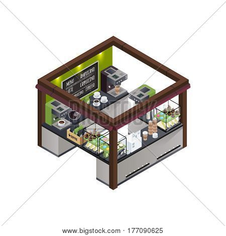 Coffee stall outdoor concession stand isometric composition with different coffee varieties menu coffee machine and sweet cakes vector illustration