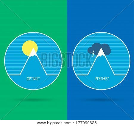 Optimistic and Pessimistic sign icon. vector illustration