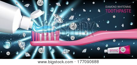 Whitening toothpaste ads. Vector 3d Illustration with toothpaste brush and diamonds. Horizontal banner with product.