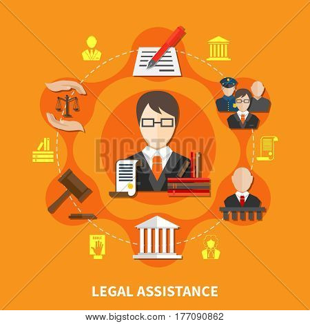 Law orange composition with advocate in court of law and legal justice headline vector illustration