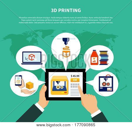 3d printing design concept illustrating human hands holding tablet with information about volumetric printer on screen flat vector illustration