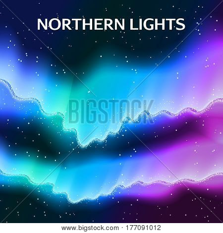 Northern lights abstract background composition of colorful polar lights and the starry arch with editable text vector illustration