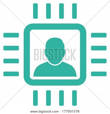 Neuro Processor vector icon. Flat cyan symbol. Pictogram is isolated on a white background. Designed for web and software interfaces.