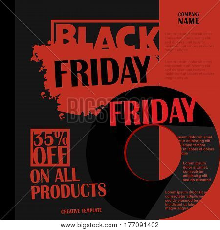 Black Friday, Big Sale, creative template on flat design