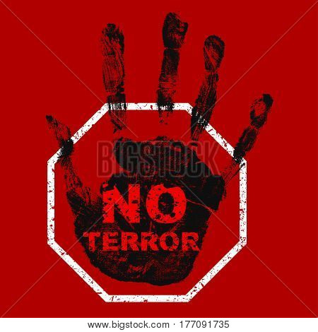 No terror icon. Black hand with red inscription