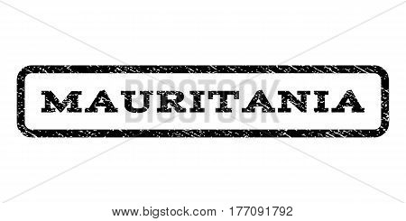 Mauritania watermark stamp. Text tag inside rounded rectangle with grunge design style. Rubber seal stamp with unclean texture. Vector black ink imprint on a white background.
