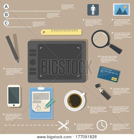 Business infographic, business idea, graphics tablet, designer work, creative template on flat design