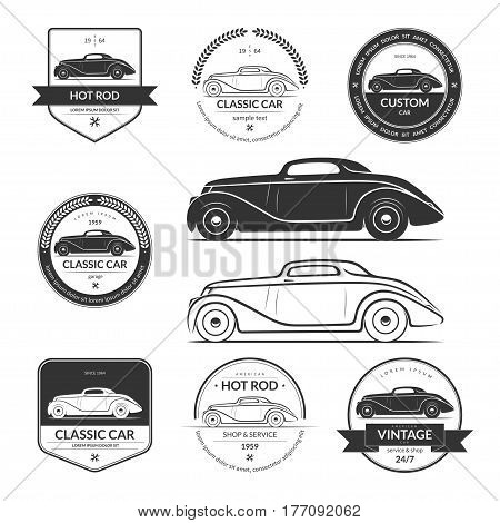 Set of hot rod, classic, vintage car service labels, emblems, logos, badges. Black vector design elements isolated on white background