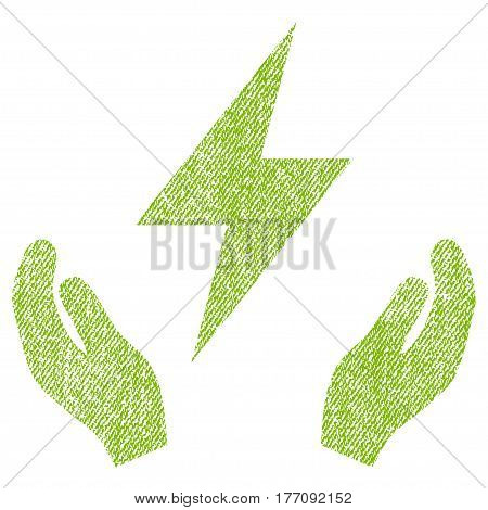 Electricity Maintenance Hands vector textured icon for overlay watermark stamps. Fabric light green vectorized texture. Symbol with unclean design. Rubber seal stamp with fiber textile structure.