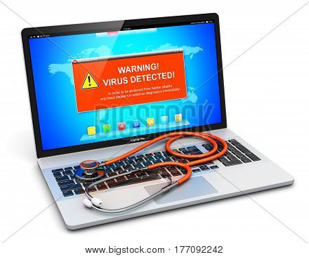 3D render illustration of modern black glossy metal office laptop or notebook with virus alert attack warning message on screen display and medical stethoscope isolated on white background
