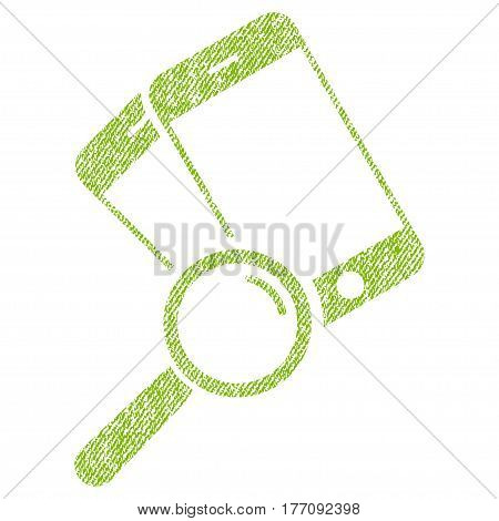 Find Smartphones vector textured icon for overlay watermark stamps. Fabric light green vectorized texture. Symbol with dirty design. Rubber seal stamp with fiber textile structure.