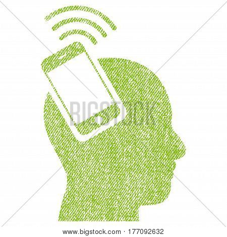 Head Smartphone Plugin Ring vector textured icon for overlay watermark stamps. Fabric light green vectorized texture. Symbol with dust design. Rubber seal stamp with fiber textile structure.