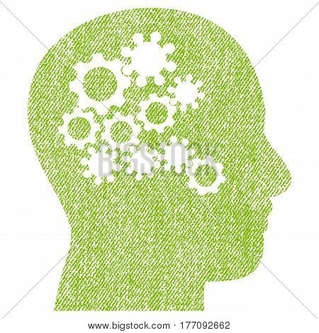 Human Mind Gears vector textured icon for overlay watermark stamps. Fabric light green vectorized texture. Symbol with dirty design. Rubber seal stamp with fiber textile structure.