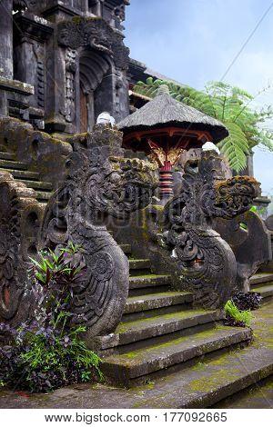 Entrance to Balinese temple Pura Besakih. Hinduism on tropical island Indonesia