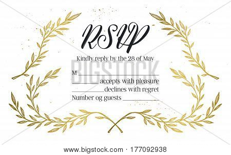 Hand Drawn Vector Illustration - Wedding Invitation Rsvp With Vintage Branches And Inky Splashes. Go