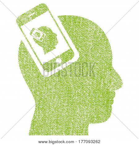 Smartphone Head Plugin Recursion vector textured icon for overlay watermark stamps. Fabric light green vectorized texture. Symbol with dirty design. Rubber seal stamp with fiber textile structure.