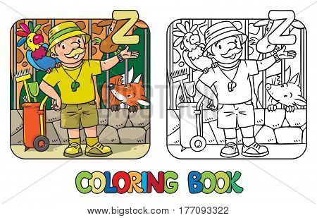 Coloring book of funny zoo keeper. A man dressed in panama hat, t-shirt and shorts with parrot and the service cart. Profession ABC series. Childrens vector illustration. Alphabet letter Z