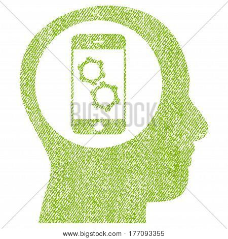Smartphone Mind Control vector textured icon for overlay watermark stamps. Fabric light green vectorized texture. Symbol with unclean design. Rubber seal stamp with fiber textile structure.